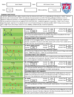 USSF License D Topic Brant Wojack - Soccer lesson plan template