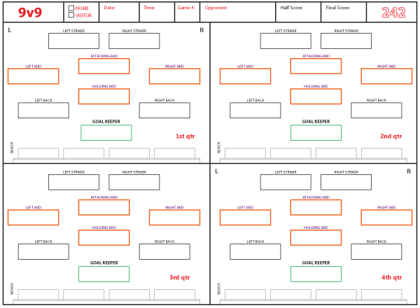 soccer lineup templates