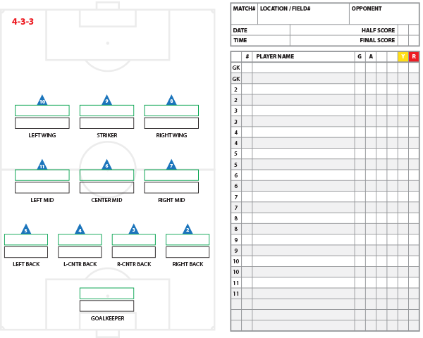 4-3-3 Formation Starters and Substitutes Template